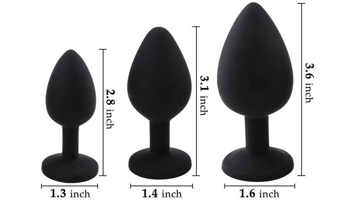 Showing 3 different butt plug sizes
